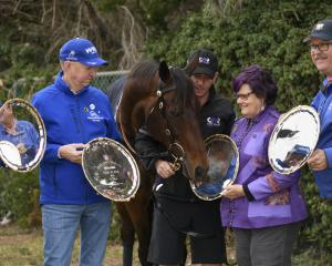 Winx and connections (L-R) Patricia Tighe, Peter Tighe, strapper Umut Odemislioglu , Debbie...