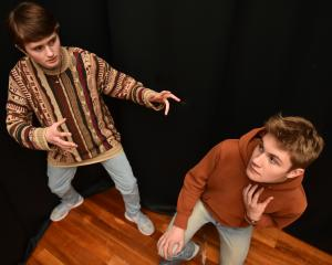 Ready to hone their acting skills abroad are Moe Stebbings (left) and Casper McGuire (both 17)....