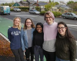 Canterbury University students Tessa Williamson, Ashley Beaton, Dipshika Chand, Matt Stent and...