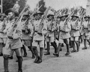 The famous Gurkha troops parade through London to be inspected by His Majesty, King George V. -...