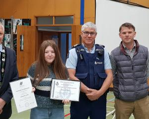 Mackenzie Hinde after receiving her award. She is with, from left, former Hurunui mayor Winton...