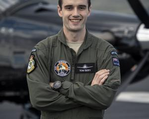 Pilot Officer Tom Sidey, from Waikari, is learning to fly with the Royal New Zealand Air Force....