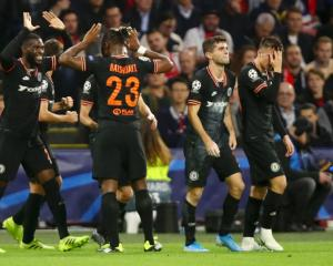 Chelsea celebrates Michy Batshuayi late winner this morning. Photo: Getty Images