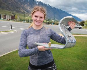 Alice Robinson back in Queenstown yesterday with her trophy. Photo: Philip Chandler