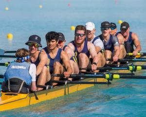 The Otago men's open coxed eight of (from left) Jake Burgess (coxswain), Reuben Cook, Angus Kenny...