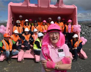 Ada Birtle, of the Palmerston Lions Club and Pink Ribbon appeal, with 22 engineers, painters and...