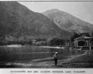 Queenstown Bay and bathing pavilion, Lake Wakatipu. — Otago Witness, 7.10.1919. COPIES OF PICTURE...