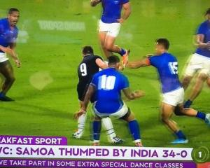 A graphics error on the show wrongly stated 'Samoa thumped by India 34-0'. Photo: Supplied via NZ...
