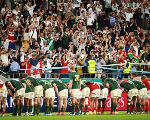 South Africa show their appreciation to the crowds after during the Rugby World Cup 2019 Group B...