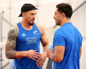 Sonny Bill Williams (left) and Anton Lienert-Brown prepare for the All Blacks third and fourth...