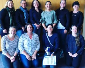 South Otago's women-only Red Meat Profit Partnership group is (from left, back row) Camille McAtamney, Kate Anderson, Madeline Anderson, Chantelle Allen, Paula Steel, Fiona Wilson; (front) Anna Ballantyne, Sandra Campbell, Amy Blaikie and Megan McCall. Ph