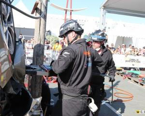Wanaka Fenz firefighters Tony Wellman and Rob Thorp (right) compete at the World Rescue Challenge...