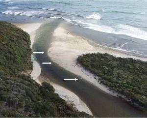Approximate location of the whitebait nets at the mouth of the Waitutu River. Photo: DOC / Supplied