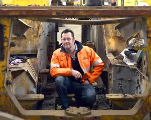 Site Weld founder Adrian Olsen in a Cat R1700 underground loader being refurbished for sale...
