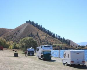 Freedom camping at Lake Dunstan. PHOTO: ODT FILES