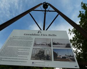 The fire bell just north of the Geraldine CBD, and McKechnie's Cottage in Wilson Street,...