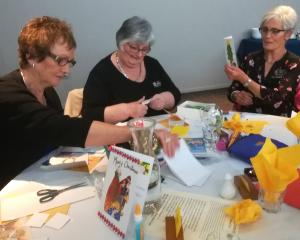 Making Sending Love cards at a recent Ashburton County Lions meeting are Coleen King, Avis...