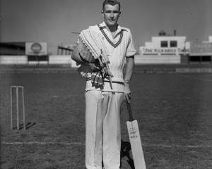 Bert Sutcliffe at Carisbrook, date unknown.PHOTO: THE EVENING STAR/ALLIED PRESS FILES