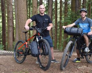 Mike Maguire (left) and business partner Phil Gallagher with their bike bag system. Photos:...
