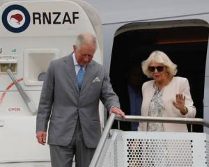Prince Charles and Camilla, Duchess of Cornwall, arrive at Whenuapai. Photo: NZ Herald