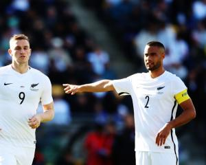 Chris Wood and Winston Reid during the All Whites first leg match against Peru in Wellington....