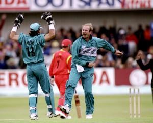 Chris Harris celebrates a Zimbabwe wicket in the 1999 World Cup Super Six match at Headingley in...
