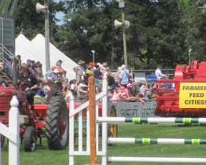John Hall's 1963 Massey Ferguson takes a message to the people during the recent Ashburton A&amp...