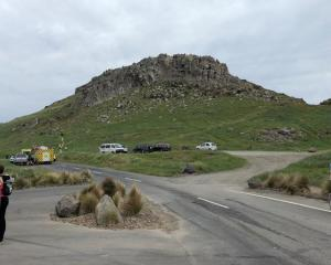 Emergency services attend to the climber near the base of Rapaki Rock. Photo: RNZ