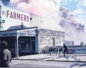 Firefighters take on the North Otago Farmers Co-operative fire. Photo:  Supplied