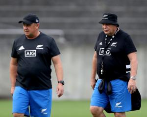 All Blacks assistant coach Ian Foster and coach Steve Hansen. Photo: Getty Images