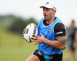 Shaun Johnson in action at a Kiwis training session in Christchurch today. Photo: Getty Images