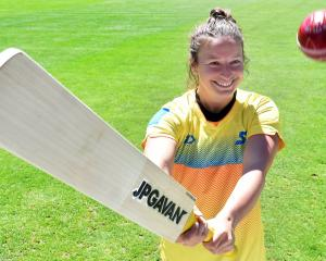 New Otago recruit Hayley Jensen prepares to take a swipe at the ball at the University of Otago...