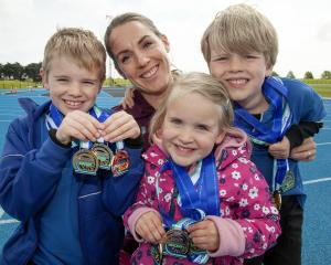 Mrs Dinnissen won nine medals at the Oceanian Master Athletics Champs. Photo: Geoff Sloan.