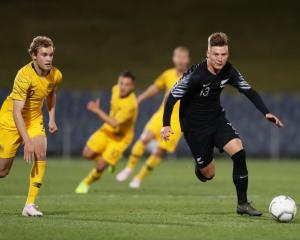 James McGarry (right) in action for New Zealand under-23 against Australia in September. Photo:...