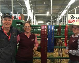 Hereford breeders Jamie King and Nicole Wallace, with Taylah Sykes, at the New Zealand...