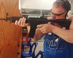 Shane Jones in action at the shooting range. Photo: Facebook via NZ Herald