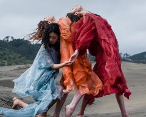 Katie Day's graduate collection, Open Space, modelled by Nadine Kemp, Lauren Moon and Peyton Leong, of Red Eleven Model Management. Photo: Natalie Ng