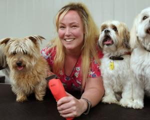 Mudpuppy owner Kim Thom, with (from left) Bear, Brodie, Barron and Hudson, is trying to keep up...