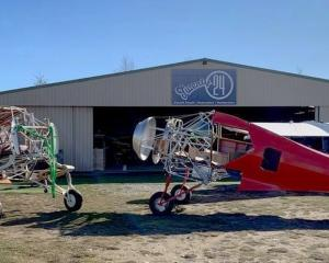 Two of the Beechcraft Staggerwing aircraft being restored at Wanaka Airport by Twenty24  Ltd. The...