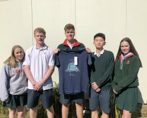 Lincoln High School students Danielle McKendry, Daniel Blaikie, Matthew Bowen, James Shi, and...