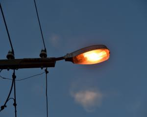 Old high-pressure sodium streetlights in Melbourne St earlier this week.
