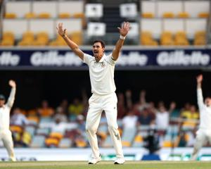Australia's Mitchell Starc appeals for a wicket during yesterday's action against Pakistan at the...