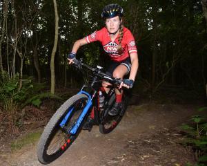 Dunedin mountain biker Nina McVicar in action at Wakari Bike Park in Dunedin yesterday afternoon....
