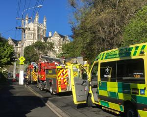 Emergency services at the scene of the incident at Otago Boys' High School this morning. Photo:...