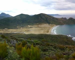 East Ruggedy Beach, Rugged Islands and, in the distance, the Ruggedy Range on the West Coast of...