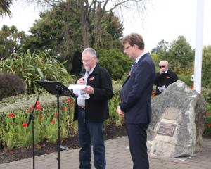 IMG: 4581: Fiordland RSA President Geoff Trumper and Te Anau Chaplain Rev Craig Allan leading the...