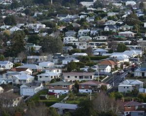 House values up 12.2% on a year ago; pictured, Dunedin hill suburb Wakari yesterday. Photo:...