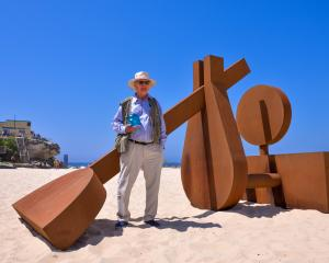 Arrow Junction sculptor Morgan Jones and his award-winning work The Sun Also Rises on Sydney's...