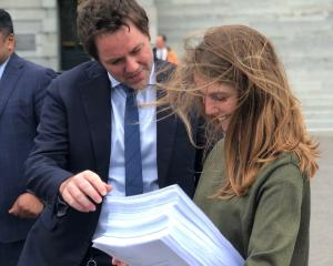 Clutha-Southland MP Hamish Walker with Gibbston film-maker Niamh Peren before she presented her '...