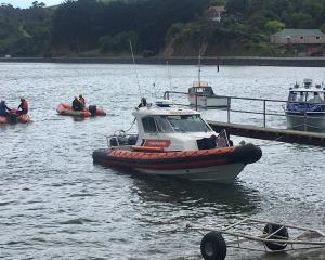 Search boats head out from Company Bay to look for a possible sighting of a person in Otago...